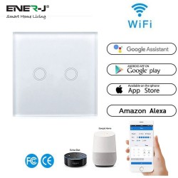 ENER-J Wifi Smart 2 Gang Touch Glass Switch
