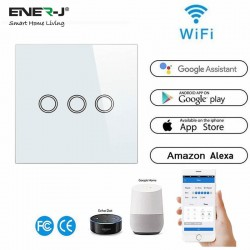 ENER-J Wifi Smart 3 Gang Touch Glass Switch